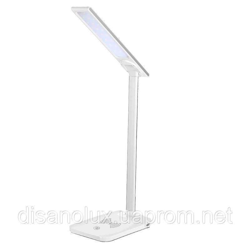 Настольная лампа  белая DL1012 -LED 7W 220V беспроводная зарядка