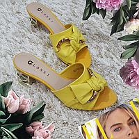 Сабо женские Glossi желтые натуральная кожа на каблуке