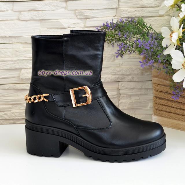 1d108b9d7 Ботинки кожаные черные женские зимние на устойчивом каблуке ...