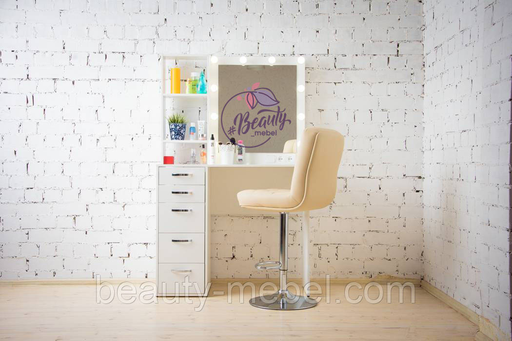 Гримерный столик с полочками, столик для макияжа с подсветкой