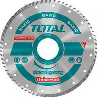 Акс.инстр TOTAL TAC2131153 Алмазный диск Turbo, универс, 115х22.2мм.