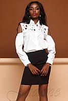 Белая женская блузка с кружевом Бонни, фото 1
