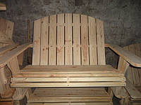 Шезлонг деревянный из сосны не крашенный двухместный