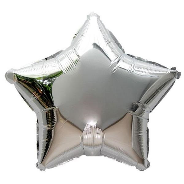 Фольгированный шар Звездочка с гелием серебро 45 см