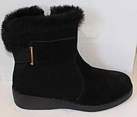 Ботинки замшевые зимние на маленькой танкетке, женская обувь от производителя модель БМ21
