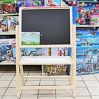 Детский мольберт двухсторонний 2в1 с магнитной доской для рисования мелом и маркерами