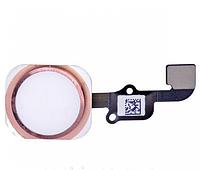 Шлейф для iPhone 6S/6S Plus, с кнопкой меню (Home) и розовой пластиковой накладкой