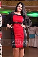 Платье (батал) с цветной красной вставкой по полке и 385.1
