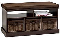 Банкетка в прихожую темно коричневая  3-мя ящиками
