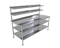 Стіл виробничий з двома верхніми полицями і двома нижніми CHIMNEYBUD, 1500x800x850 мм (нержавіюча сталь/304)