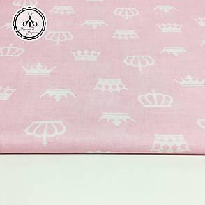 """Польская хлопковая ткань """"короны белые на розовом"""", фото 2"""