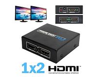 Сплиттер телевизионный 4K HDMI 1x2 порта. HDMI разветвитель 1х2.