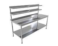 Стіл виробничий з двома верхніми полицями і однієї нижньої CHIMNEYBUD, 800x700x850 мм (нержавіюча сталь/304)