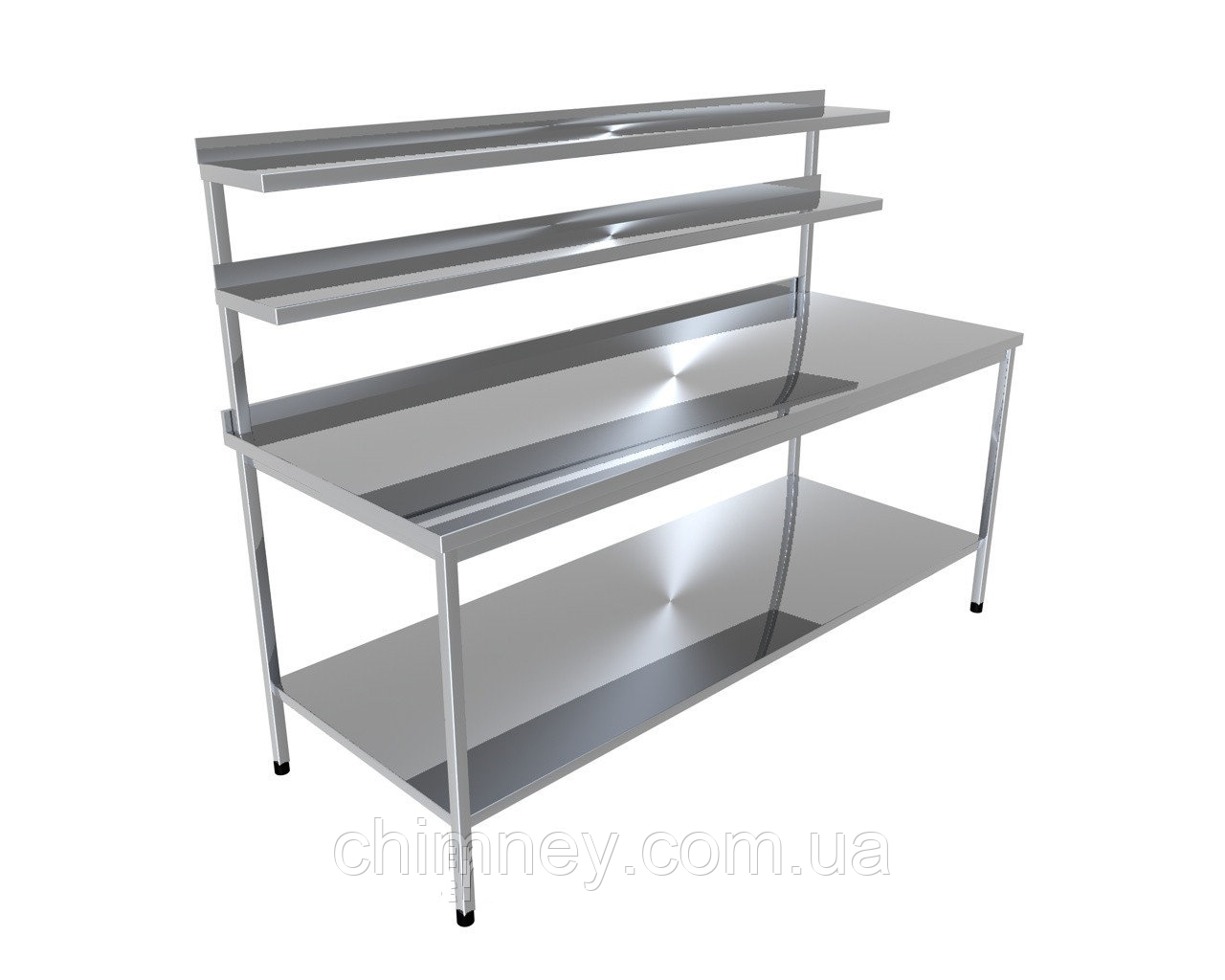 Стіл виробничий з двома верхніми полицями і однієї нижньої CHIMNEYBUD, 1300x800x850 мм (нержавіюча сталь/304)