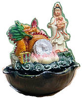 Фонтан декоративный Рождение Будды под охраной дракона подсветка  шарик