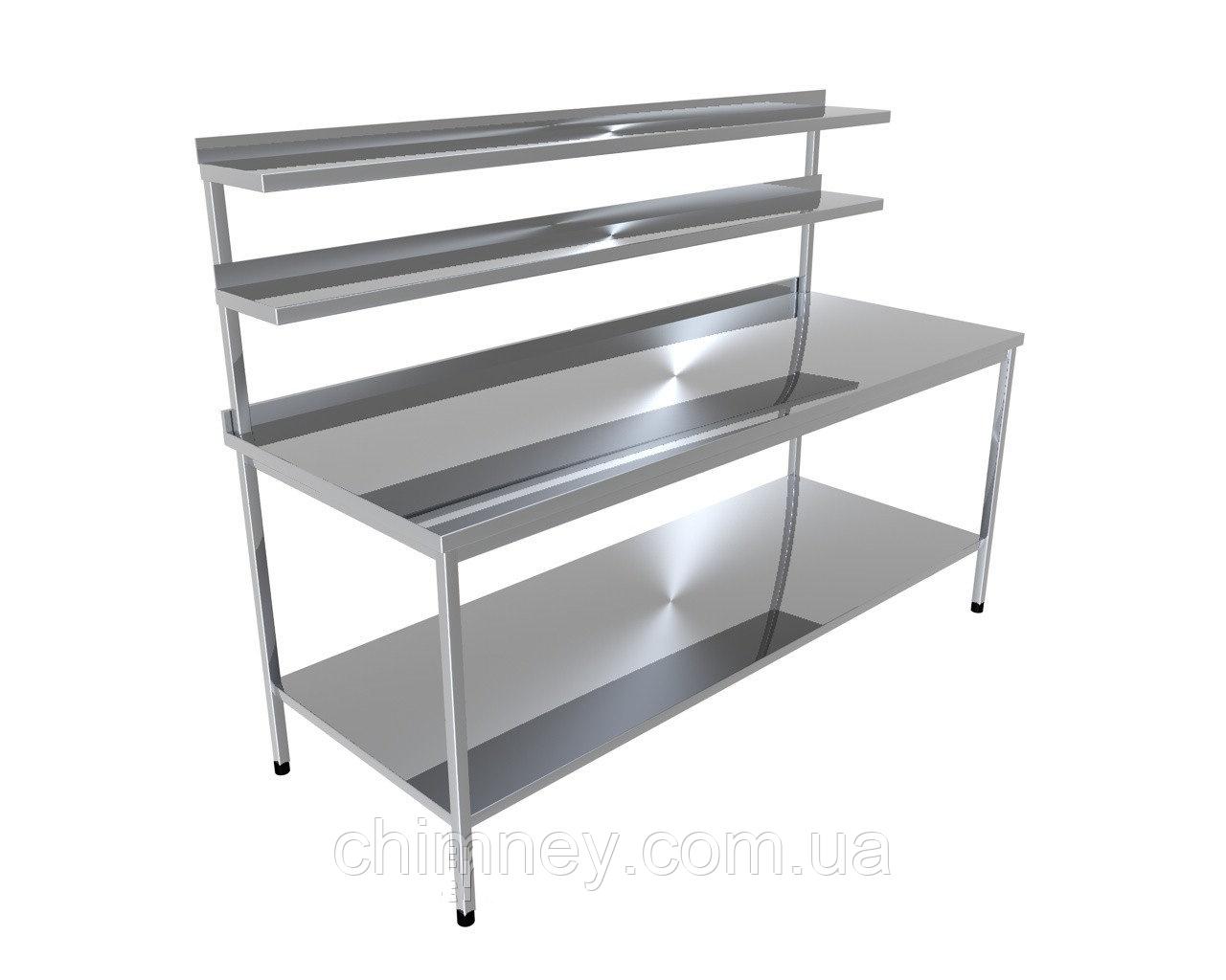 Стіл виробничий з двома верхніми полицями і однієї нижньої CHIMNEYBUD, 900x900x850 мм (нержавіюча сталь/304)