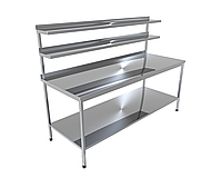 Стіл виробничий з двома верхніми полицями і однієї нижньої CHIMNEYBUD, 1600x900x850 мм (нержавіюча сталь/304)