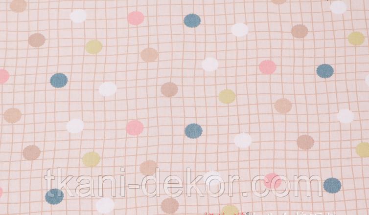 Сатин (хлопковая ткань) на бежевой клетке цветной горох