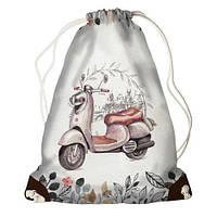 Рюкзак-мешок на завязках Мопед,Сумка-мешок для сменой обуви
