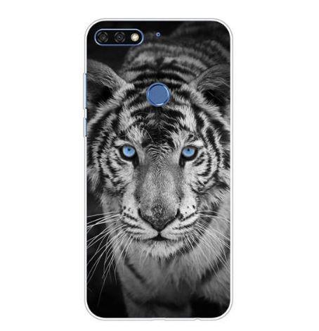 Силиконовый чехол бампер для Huawei Y6 Prime 2018 / honor 7A Pro с картинкой Белый тигр
