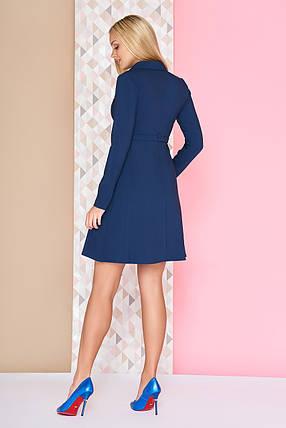 Стильное школьное платье короткое юбка солнце клеш рукав длинный темно синее, фото 2