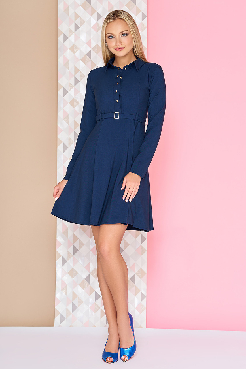 394f5dc3068 Стильное платье демисезонное короткое юбка солнце клеш рукав длинный темно  синее -