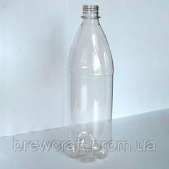 Бутылка пластиковая с крышкой. 1 литр. Прозрачная. Упаковка 25 шт