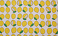 Сатин (хлопковая ткань) на белом фоне лимоны, фото 2