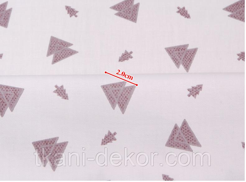 Сатин (хлопковая ткань) маленькие серые елки