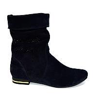Женские демисезонные ботинки на низом ходу, синяя замша, декорированы накаткой камней.