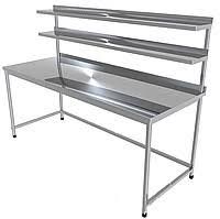 Стіл виробничий з двома верхніми полицями CHIMNEYBUD, 1400x700x850 мм (нержавіюча сталь/304)