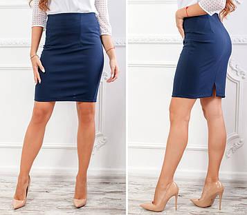 Классическая юбка-карандаш из креп-дайвинга  темно-синего цвета