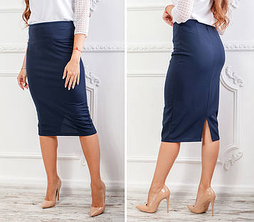 Классическая юбка-карандаш из креп-дайвинга  темно-синего цвета миди длины