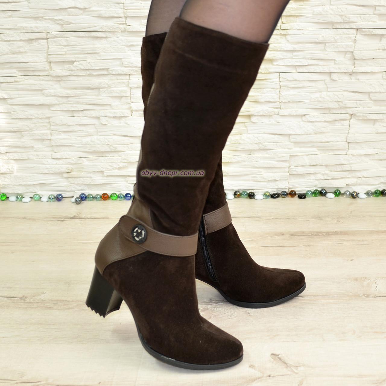Сапоги коричневые демисезонные женские на невысоком каблуке, натуральная кожа и замша.