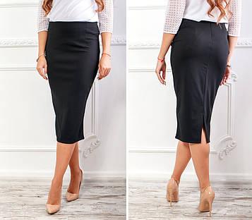 Черная классическая юбка-карандаш из креп-дайвинга   миди длины