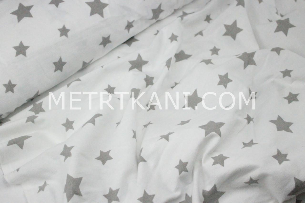 "Фланель ""Звездопад""серый на белом  №1128"