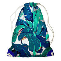Рюкзак-мешок спортивный с принтом для сменной обуви Листья в тропиках