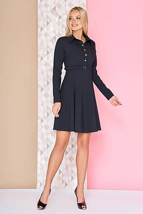 Элегантное школьное платье мини юбка от груди свободная с поясом черное, фото 2