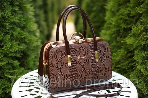 49bb84b85036 Сумка женская под рептилию лаковая коричневая: купить в Харькове, Украине.  женские сумочки и клатчи от