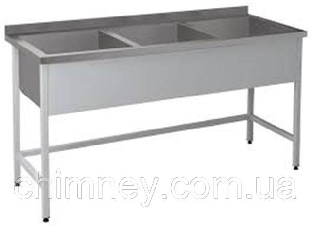 Трьохсекційна Ванна мийна CHIMNEYBUD, 1800x600x850 мм (нержавіюча сталь/304)
