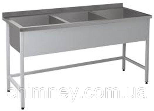 Трьохсекційна Ванна мийна CHIMNEYBUD, 1600x800x850 мм (нержавіюча сталь/304)