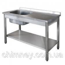 Стіл з мийною ванною і полицею CHIMNEYBUD, 1800x700x850 мм (нержавіюча сталь/430)