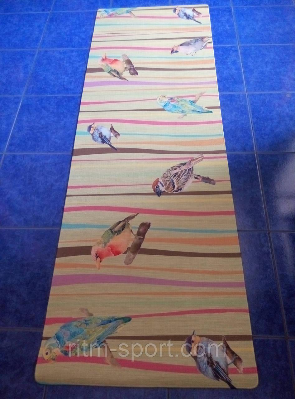 Коврик для йоги джутовый Птицы (лен, каучук армированный, 183 * 61 * 0,3 см)