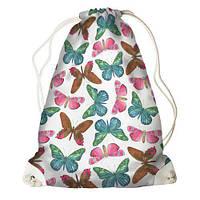 Рюкзак-мешок молодежный с принтом для сменной обуви Бабочки на белом