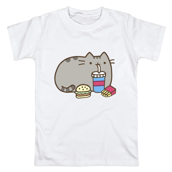 Футболка с принтом «Котик с бургером и фри»