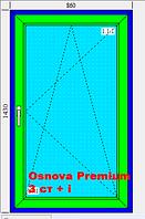 Окно 860х1430 5-ти камерный профиль Osnova Premium 3 стекла белое