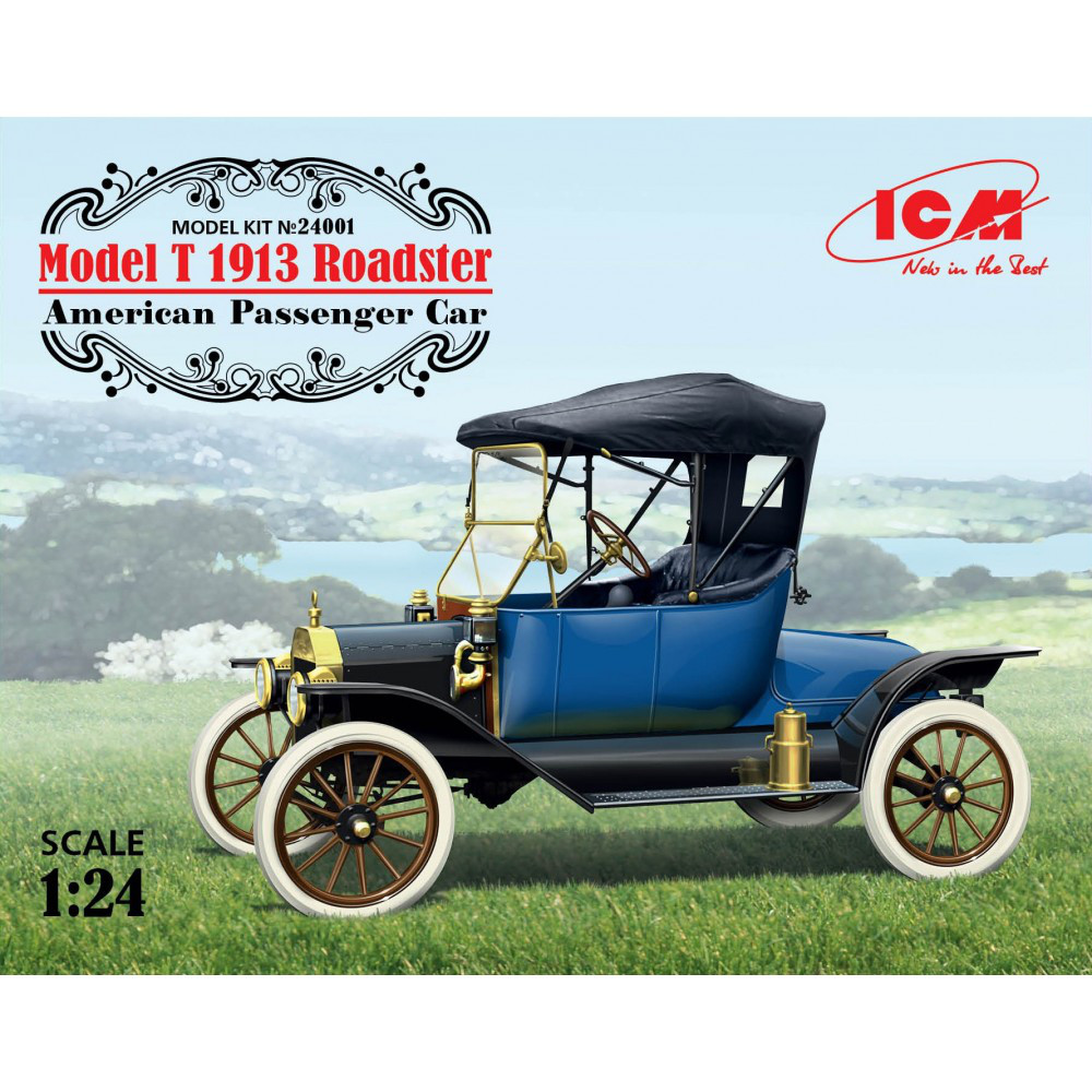 MODEL T ROADSTER 1913, АМЕРИКАНСКИЙ ПАССАЖИРСКИЙ АВТОМОБИЛЬ.1/24 ICM 24001