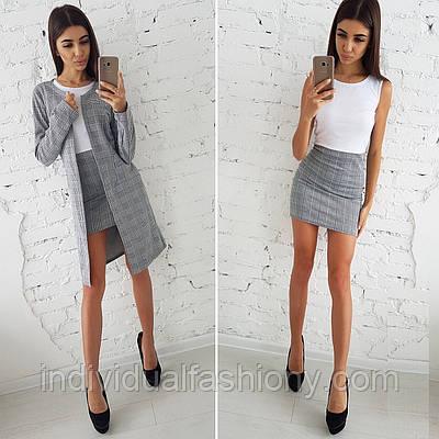 Костюм кардиган + платье трикотаж