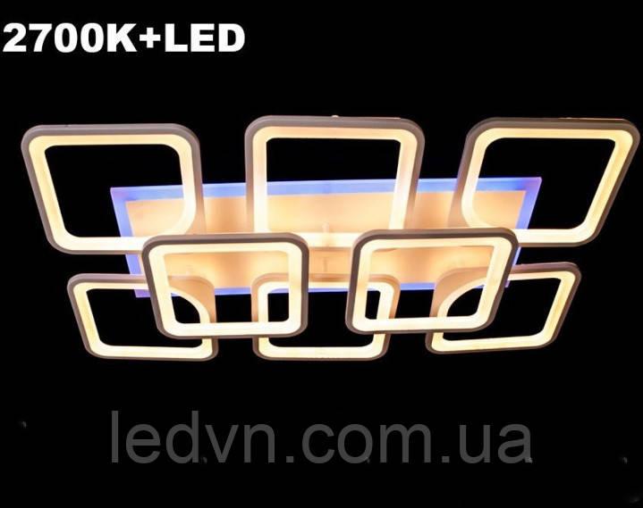 Светодиодная led люстра 6+2 квадрата белая 220 ватт