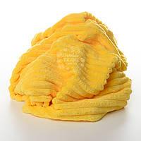 Плюш в полоску Stripes, жёлтый цвет.